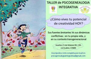 Présentation Taller Psicogenealogia Integrativa - creatividad